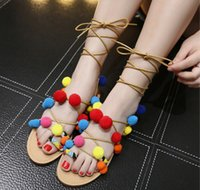 ankle hair - 2016 summer new bohemian sweet hair color shoes side strap sandals flat with Toe