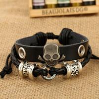 Wholesale Fashion Charm Bracelets Handmade Skull Charm For Men Multilayer Infinity Alloy Beads Wide Leather Bracelets Jewelry