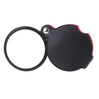 Wholesale Lupas De Aumento Microscope Ferramentas X Mini Magnifying Glasses Pocket Magnifier Lens with Leather Pouch Folding Loupe