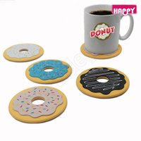 beverage coasters - LJJG333 Cup Mat Pad Cute Donut Cookies Shaped Silicone Coaster Cup Cushion Beverage Holder Drink Placemat in one retail box