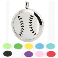 baseball stainless - 1pcs magnet mm cute baseball Aromatherapy Essential Oil surgical Stainless Steel Perfume Diffuser Locket Necklace with chain and pads
