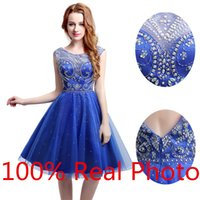 amazing art photo - Real Photo New Design Royal Blue Cap Sleeve Short Prom Party Homecoming Dresses Sheer Neck Amazing Beaded Detail Graduation Gown