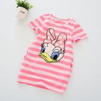 Wholesale hot summer girl striped cotton dress children cartoon Donald Duck short sleeve the two sides pocket dress underwear years cm skirt