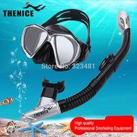 Wholesale Thenice Snorkel Set Anti Fog Scuba Diving Mask Glasses Equipment Full Dry Snorkeling Swimming Training Underwater Mask Women men S022