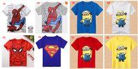 Wholesale New Kids cartoon superman spider man Tshirt minions costume children s clothing boys and girls Minions Short Sleeved t shirts