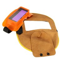 Wholesale Protable Leather Welding Solar Auto Darkening Filter Lens Hood Helmet Mask Weld Cap Solar Charge Function