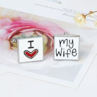 Wholesale High Quality Cuff Links Cufflinks for Men I Love My Wife Cuff Link Love Heart Novelty Gift Husband Cufflinks Men Fashion Jewelry Accessories