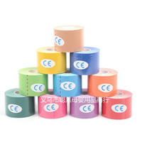 Wholesale 10pcs Sports Muscle Stickers Tape Roll Cotton Elastic Adhesive Muscle Bandage Strain Injury Support Colors cm x m