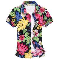 Cheap Wholesale-2016 Fashion Mens Short Sleeve Silk Hawaiian Shirt Plus Size M-6XL Summer Casual Floral Shirts For Men