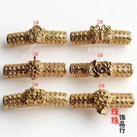 Wholesale DIY handmade accessories copper vacuum plating K gold hollow casing pipe carved elephant brave Bracelet clasp