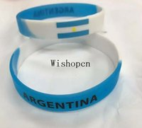 argentina gifts - Popular Argentina Team Wristband Silicone Promotion Gift Filled In Color Bracelet