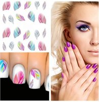 Wholesale 1pcs Fashion Colorful Feather Nail Art Water Transfer Sticker Nail Art Tips Wraps DIY Nail Beauty Accessories