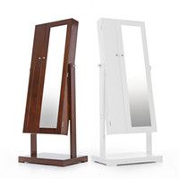bedroom furniture armoires - Fashion Standing Jewelry Cabinet Armoire Tilt Adjustable Jewelry Storage Box Organizer with Dressing Mirror US STOCK H16612