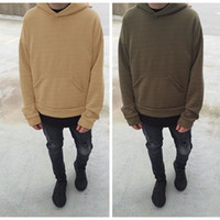 Wholesale Super good quality nice Fashion hip hop hoodies with fleece WARM winter mens kanye west hoodie sweatshirt swag solid Olive pullover Q2