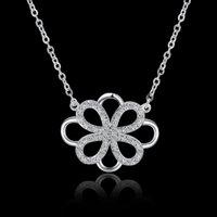 Cheap Creative Luck Tie Diamond Choker Necklace Fashion Girl Women Luxury Jewelry 925 Silver Link Chain Charm Bling Pendant Free Shipping