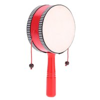 Wholesale Wooden Hand Shaking Drum Rattle Musical Instrument Toy for Baby Kid Child