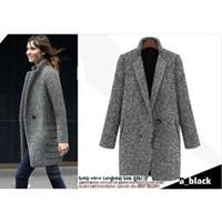Wholesale 2017 Elegant women winter wool coats plus size grey warm cotton trench laides velvet thick jacket long outdoor overcoat Casual jacket coat