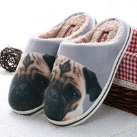 Wholesale 2016 new winter couple D floral pug Home Furnishing cartoon cotton slippers slippers