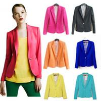 Wholesale New Autumn Blazers Women Lapel Neck Long Sleeve Single Button Slim Fashion Solid Clothing Casual Office Suits Plus Size XS XL