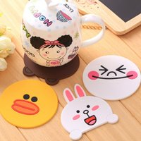 bear kitchen decor - DHL Shipping Free Cute Cartoon Duck Bear Rabbit Smile Coasters silicone Anti Slip Cup Mat Mug Placemat Base Kitchen Accessories Home Decor