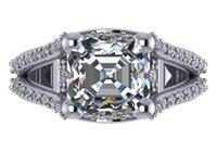 asscher cut stones - 4 cts AGS certified E VS2 asscher cut diamond engagement ring k white gold