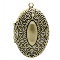 antique oval picture frame - Retail Frame Pendants Picture Photo Locket Oval Antique Bronze Fit x18mm Pattern Carved x2 cm