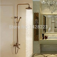 bathtub faucet with sprayer - Antique Brass quot Rainfall Shower Set Faucet Wall Mounted Bathtub Shower Mixer Tap With Hand Sprayer