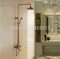bathtub faucet sprayer - Antique Brass quot Rainfall Shower Set Faucet Wall Mounted Bathtub Shower Mixer Tap With Hand Sprayer