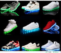 Wholesale NEW LED Shoes light colorful Flashing Shoes with USB Charge Unisex Fluorescent Couple Shoes Party and Sport Casual Shoes for Kid and Adult