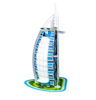 Wholesale 3D puzzle DIY toy birthday gift paper model Dubai Burj Al Arab hotel Child Children LEANING Kid gift ARCHITECTURE DIY D PUZZLE TOY