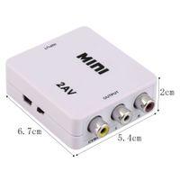 HD-184 Universal Mini HDMI vers RCA Vidéo Composite Audio AV 2AV CVBS Adaptateur Convertisseur 1080P Pour HDTV Magnétoscope DVD VHS PS3 Xbox Blanc Nouveau