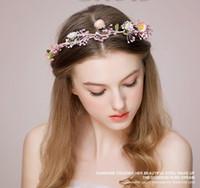 Розовые цветочные диадемы DIY Подгонянные садовые сказочные головные уборы Свадебные цветочные гирлянды Романтические свадебные аксессуары для невесты из волос