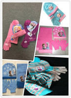 baby hat scarf and gloves - Frozen Piece Beanie Set Knit Hat Gloves and Scarf Elsa Anna Lovely Baby Girls Soft Knit Wool Hat Scarf Sets Children Gifts