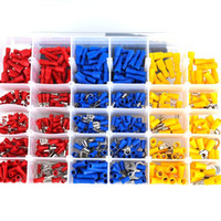 automotive wiring connector - 480Pcs Assorted Insulated Electrical Insulated Wire Crimp Connectors Spade Ring Fork Set Kit with Box Marine Automotive Car Terminals