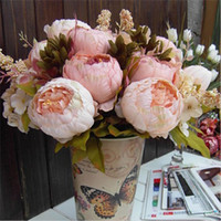 Wholesale 2016 Hot Color xBouquet Elegant Artificial Peony Silk Flowers Head Home Party Decor Wedding Decoration Flores Artificiales