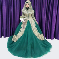 Wholesale Real Photo Elegant Long Sleeves with Buttons Ball Gowns Muslim Wedding Dresses Lace Hijab Lace Up Back Tulle Western Bride Dresses