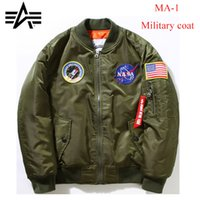 alphas pilot - NASY Flight Bomber jacket Men Windbreaker Thin Black ALPHA MA1 Air Force Pilot Navy MA Military Coat Rocket Double sided