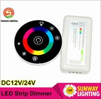 Wholesale DC12V Round Touch dimmer controller for RGB led strip A Wireless RF Touch Panel RGB full color Remote Controller for RGB LED strip