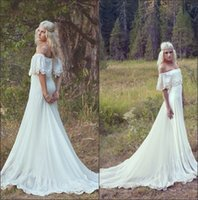 Wholesale 2016 Vintage Bohemian A Line Beach Wedding Dresses Off The Shoulder Lace Applique Chiffon Court Train Summer Beach Bridal Gowns