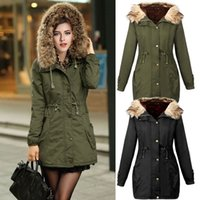 Wholesale European Grand Prix winter new green army jacket fur collar hooded thick padded coat female thickening Slim