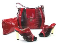 Wholesale VIVILACE tee16 red African Fashion Shoes and Matching Bags set with plenty stones and Italy Shoe and Bag