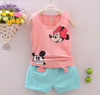 american pics - 2016 Toddler Girls Boys Clothing Sets Kids Minnie Vest Shorts Pics Suits New Summer Children Mikey Clothing Sets Baby HJIA292