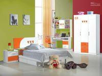 bedroom furniture nightstands - Brand New MDF Child Teenage Kids Bedroom Furniture Set set kids bed Wardrobe Nightstand Bookcase Orange