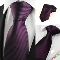 Wholesale New Striped Plum Purple Men s Tie Formal Suit Necktie Wedding Holiday Gift Preferential price The most popular