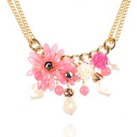 Wholesale Split fashion lady Kizu folk style necklace original Korean flower geometric large collar Pendant