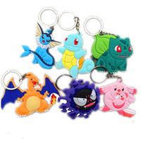 Wholesale Anime Game Poke Go Keychain Charizard Bulbasaur Squirtle Gengar Chansey Vaporeon PVC Pendant with key Ring styles