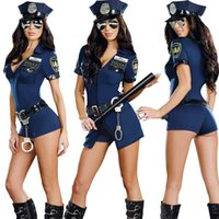 Wholesale Sexy Cosplay Policewoman Mounted Police Uniform Lure Blue Zipper Dress Game Uniforms Halloween Costumes For Women