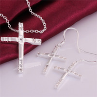 Wholesale Factory direct sale sterling silver Cross piece jewelry sets DFMSS757 brand new wedding silver necklace earring