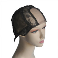 adjustable wig cap - U Part with Lace Net Wig Cap Base Hairnet quot quot Left Centre Right Parting For Making Wigs with Adjustable Straps