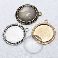 Wholesale 50 sets antique silver filigree cameo cabochon x20mm base setting pendant blanks clear glass cabochons